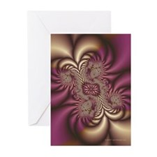 Burgundy/Gold Fractal Christmas Cards (Pk of 10)