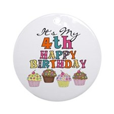 Cupcakes 4th Birthday Ornament (Round)
