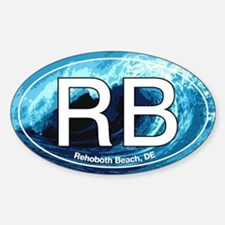 RB Rehoboth Beach Wave Oval Oval Decal