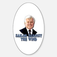 Ted Kennedy Sailor Against the Wind Oval Decal