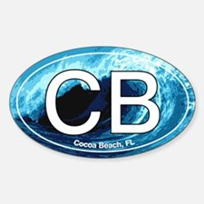 CB Cocoa Beach Wave Oval Oval Decal