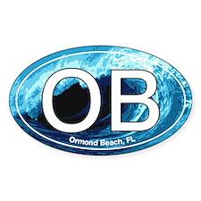 OB Ormond Beach Wave Oval Oval Decal