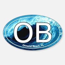 OB Ormond Beach Wave Oval Oval Decal