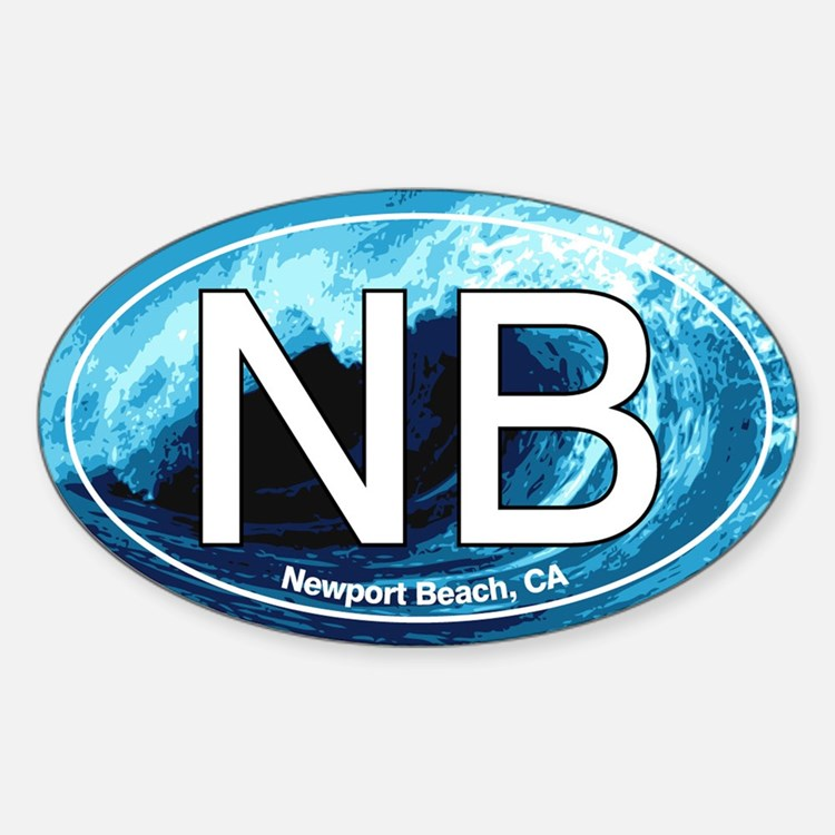 NB Newport Beach Wave Oval Oval Decal