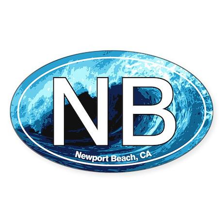 NB Newport Beach Wave Oval Oval Sticker