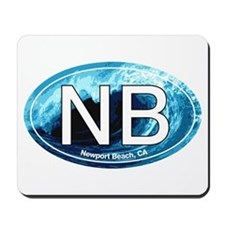 NB Newport Beach Wave Oval Mousepad