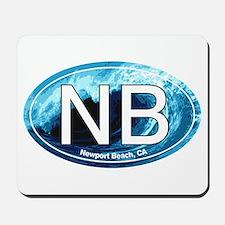 NB Newport Beach Wave Oval Mousepad
