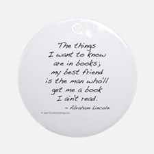 Lincoln on Books Ornament (Round)