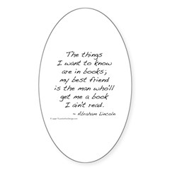 Lincoln on Books Oval Decal