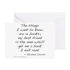 Lincoln on Books Greeting Cards (Pk of 20)