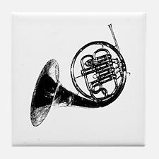 Black French Horn Tile Coaster