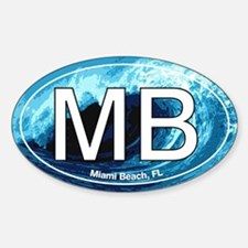 MB Miami Beach Wave Oval Oval Decal