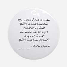 Milton on Books Ornament (Round)