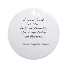 Tupper on Books II Ornament (Round)