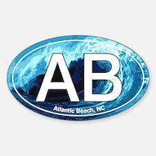 AB Atlantic Beach Wave Oval Oval Decal