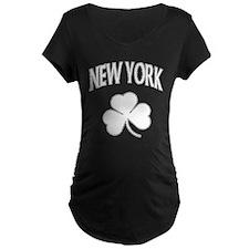 New York Irish Shamrock Maternity Dark T-Shirt