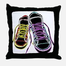 Neon Sneakers Throw Pillow