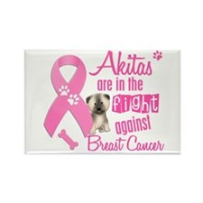 Akitas Against Breast Cancer 2 Rectangle Magnet
