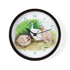 Guinea Fowl Trio Wall Clock