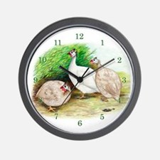 Guinea Fowl Trio Wall Clock
