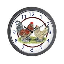 Bantam Rooster and Hen Wall Clock