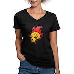 Flaming Devil Skull Tattoo Women's V-Neck Dark T-S