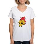 Flaming Devil Skull Tattoo Women's V-Neck T-Shirt