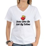 Jesus Loves Me And My Tattoos Women's V-Neck T-Shi