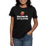 Jesus Loves Me And My Tattoos Women's Dark T-Shirt