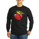 Burning Sacred Heart Long Sleeve Dark T-Shirt