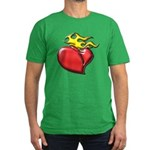 Burning Sacred Heart Men's Fitted T-Shirt (dark)