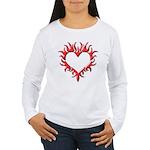 Tribal Heart (Red 3D) Women's Long Sleeve T-Shirt