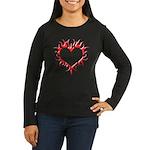 Tribal Heart (Red 3D) Women's Long Sleeve Dark T-S