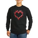 Tribal Heart (Red 3D) Long Sleeve Dark T-Shirt