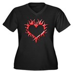 Tribal Heart (Red 3D) Women's Plus Size V-Neck Dar