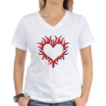 Tribal Heart (Red 3D) Women's V-Neck T-Shirt