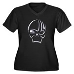 Tribal Skull (Chrome) Women's Plus Size V-Neck Dar