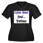 Color Your Soul Women's Plus Size V-Neck Dark T-Sh
