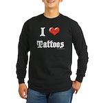 I Love (Heart) Tattoos Long Sleeve Dark T-Shirt