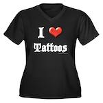 I Love (Heart) Tattoos Women's Plus Size V-Neck Da