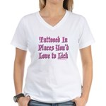 Tattooed Love to Lick Women's V-Neck T-Shirt