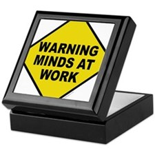 Caution Minds at Work Keepsake Box