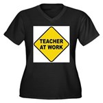 Teacher At Work Women's Plus Size V-Neck Dark T-Sh