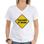 Teacher At Work Women's V-Neck T-Shirt