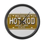 Hot Rod License Plate Large Wall Clock