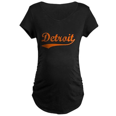 Detroit Script Distressed Maternity Dark T-Shirt
