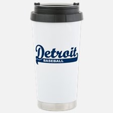 Detroit Baseball Script Stainless Steel Travel Mug