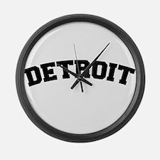 Detroit Black Large Wall Clock