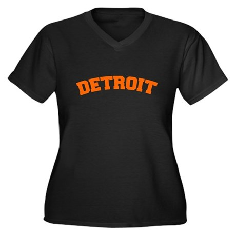Detroit Orange Women's Plus Size V-Neck Dark T-Shi