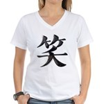 Smile Japanese Kanji Women's V-Neck T-Shirt